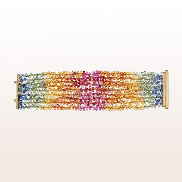 Armband mit bunten Saphiren und einer 18kt Gelbgold Stabschließe