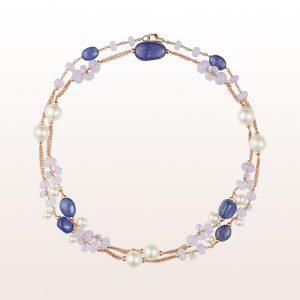 Collier mit Tansanit, Chalzedon und Perlen in 18kt Roségold