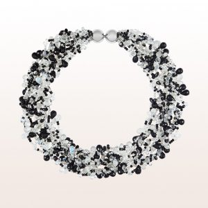 Collier mit schwarzem Spinell, Labradorit, Mondstein und einer 18kt Weißgold Doppelkugelschließe