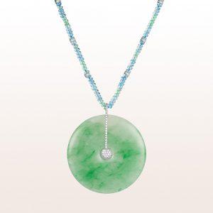 Collier mit Jadeanhänger, Brillanten 0,41ct, Smaragd und Aquamarin in 18kt Weißgold