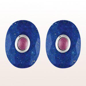 Manschettenknöpfe mit Lapis Lazuli und Rubin in 18kt Silber