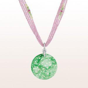 Anhänger mit grüner Jade und Brillanten 0,30ct auf einem Collier mit rosa Saphir, rosa Apatit, Chrysoberyll und Brillanten mit einer 18kt Weißgold Brillantschließe