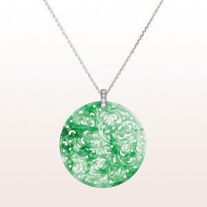 Anhänger mit grüner Jade und Diamanten in 18kt Weißgold