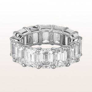 Ring mit Emerald cut Diamanten 14,74ct in Platin