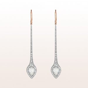 Ohrgehänge mit Diamanttropfen 2,08ct und Brillanten 1,33ct in 18kt Weißgold
