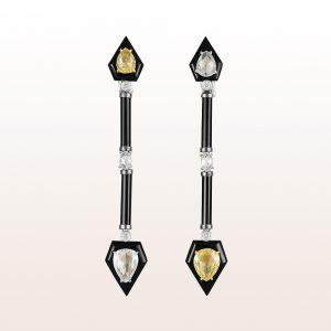 Ohrgehänge mit gelben und weißen Diamanten 4,50ct und Onyx in 18kt Weißgold