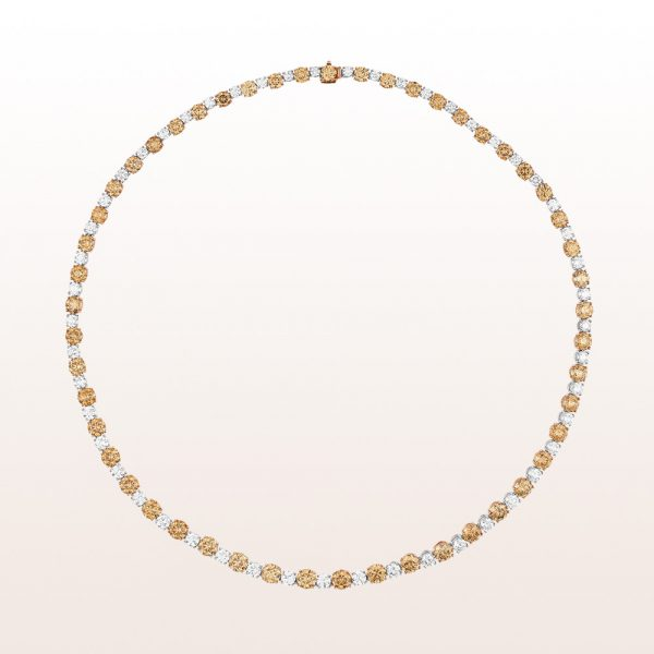 Collier mit braunen Brillanten 23,47ct und weißen Brillanten 8,84ct in 18kt Roségold