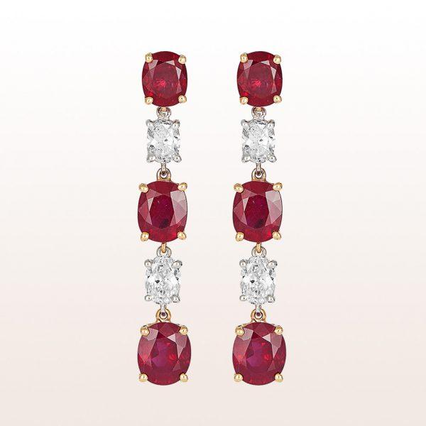 Ohrgehänge mit Rubine 8,59ct und Diamanten 1,32ct in 18kt Weißgold