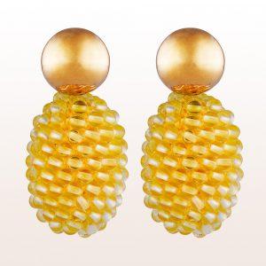 Ohrgehänge mit Citrin-Coccinellas in 18kt Gelbgold