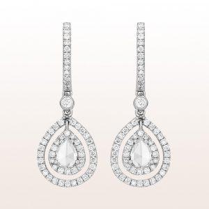 Ohrgehänge mit Diamanttropfen 0,55ct und Brillanten 0,62ct in 18kt Weißgold