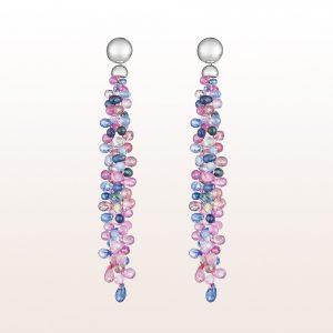 Ohrgehänge mit blauen und rosa Saphiren in 18kt Weißgold