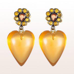 Ohrgehänge mit gelben Saphiren und Citrine in 18kt Gelbgold