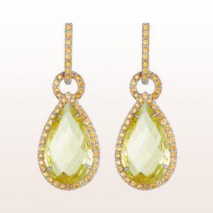 Ohrgehänge mit grünen und gelben Beryllen 12,71ct und gelben Saphiren 1,79ct in 18kt Weißgold