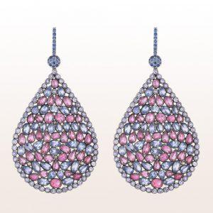Ohrgehänge mit blauen und rosa Saphiren 27,45 ct in 18kt Weißgold