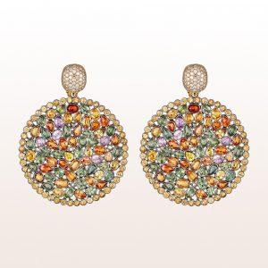 Ohrgehänge mit braune Diamanten und bunte Saphire in 18kt Weißgold