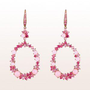 Ohrgehänge mit rosa Saphiren, Rubelliten, Rubinen und rosa Opalen in 18kt Roségold