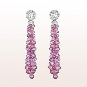 Ohrgehänge mit rosa Saphire und Brillanten 1,30ct in 18kt Weißgold