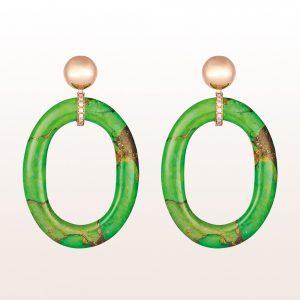 Ohrgehänge mit Grüntürkisen und braunen Brillanten 0,17ct in 18kt Roségold