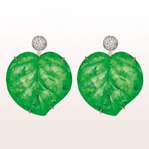 Ohrgehänge mit Grüntürkisblättern und Brillanten 1,09ct in 18kt Weißgold