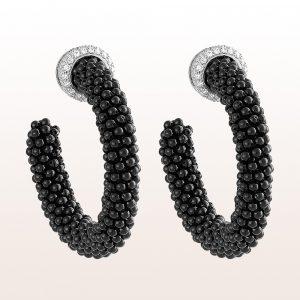Creolen mit schwarzem Spinell und Brillanten 1,28ct in 18kt Weißgold