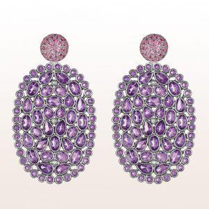 Ohrringe mit Amethystscheiben und rosa Saphiren 1,23ct in 18kt Weißgold