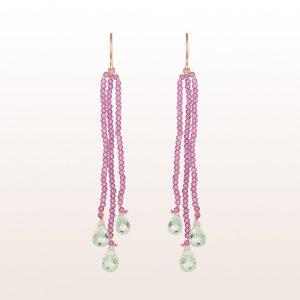 Ohrgehänge mit rosa Spinell und Prasiolith in 18kt Roségold