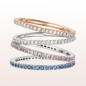 Ringe mit Brillanten und rosa und blauen Saphiren in 18kt Rosé- und Weißgold