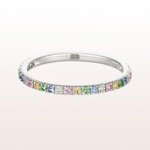 Ring mit Tsavorit, blauen, rosa und gelben Saphiren und Diamanten in 18kt Weißgold