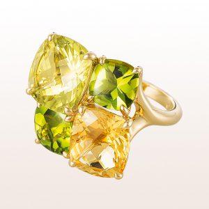Ring mit Lemonquarz, Citrin und Peridot in 18kt Gelbgold