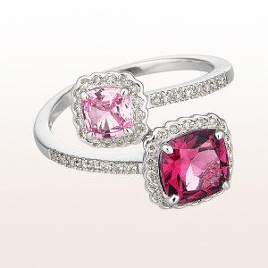 Ring mit Rhodolith, rosa Saphir und Diamanten in 18kt Weißgold