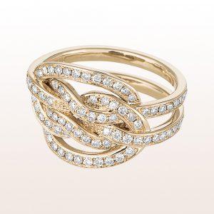 """Ring """"echter Liebhaberknoten"""" mit Brillanten 1,20ct in 18kt Weißgold von Designerin Julia Obermüller"""
