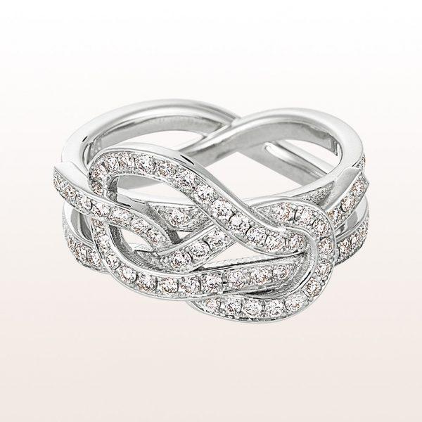 """Ring """"Doppelter Palstek"""" mit Brillanten 1,12ct in 18kt Weißgold von Designerin Julia Obermüller"""