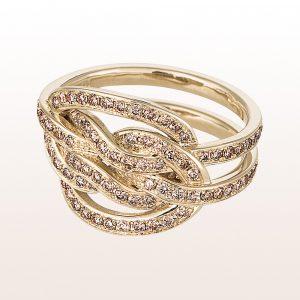 """Ring """"echter Liebhaberknoten"""" mit braunen Brillanten 1,20ct in 18kt Weißgold von Designerin Julia Obermüller"""