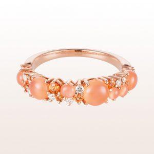 Ring mit orangen Mondsteinen 1,54ct, orangen Saphiren 0,24ct und Brillanten 0,13ct in 18kt Roségold