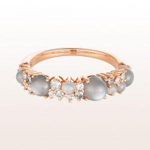 Ring mit Mondsteinen 1,40ct und Diamanten 0,13ct in 18kt Roségold