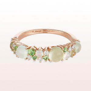 Ring mit grünem Chalzedon 0,83ct, Prehniten 0,80ct, Tsavoriten 0,18ct und Diamanten 0,13ct in 18kt Roségold