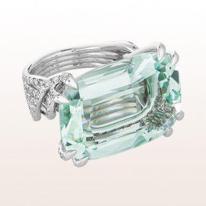 Ring mit grünem Beryll 33,30ct und Brillanten in 18kt Weißgold