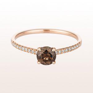 Ring mit Rauchquarzen 0,47ct und Brillanten 0,11ct in 18kt Roségold