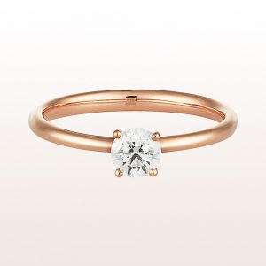 Ring mit Brillant 0,41ct in 18kt Roségold