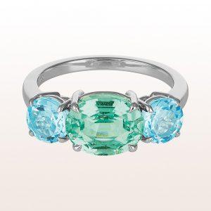 Ring mit Smaragd 1,98ct und Topase 1,98ct in 18kt Weißgold