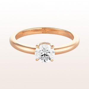 Ring mit Brillant 0,74ct in 18kt Roségold