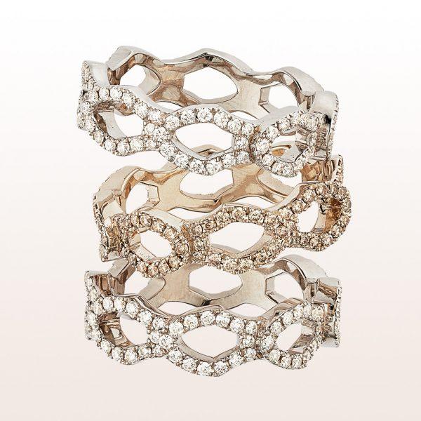 Ring mit weißen und braunen Brillanten 0,67ct in 18kt Roségold von Designerin Julia Obermüller
