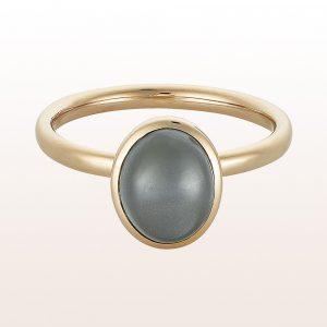 Ring in grauem Mondstein in 18kt Weißgold