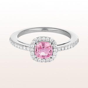 Ring mit rosa Saphir 0,86ct und Brillanten 0,28ct in 18kt Weißgold