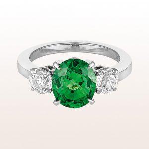 Ring mit Tsavorit 3,09ct und zwei Altschliff-Diamanten 1,05ct in 18kt Weißgold