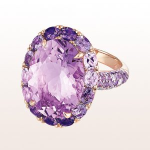 Ring mit Amethyst 11,09ct, Amethysten 0,65ct und Brillanten 0,14ct in 18kt Roségold