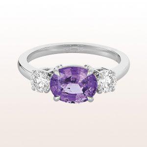 Ring mit violettem Saphir 2,34ct und Brillanten 0,53ct in 18kt Weißgold