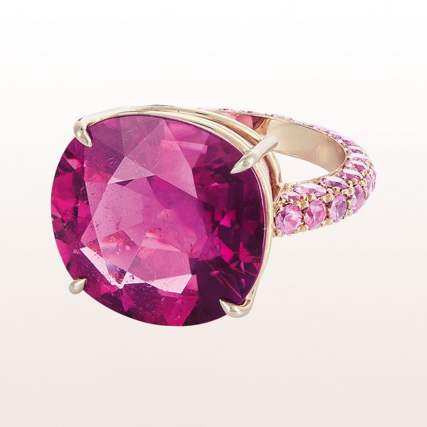 Ring mit Rubellit 14,04ct und rosa Saphiren 1,50ct in18kt Weißgold