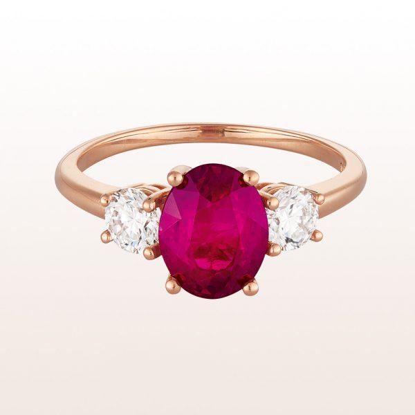 Ring mit Rubin 2,01ct und Brillanten 0,52ct in 18kt Roségold