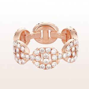 Ring mit braunen Brillantegliedern 2,11ct in 18kt Roségold